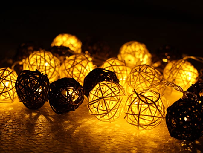 AtneP Dual Color Rattan Ball Lights for Home Decoration Diwali Christmas (4  m,White,Brown)