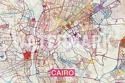 Amazon Com Best Quality Prints Cairo Egypt Artistic Modern Map