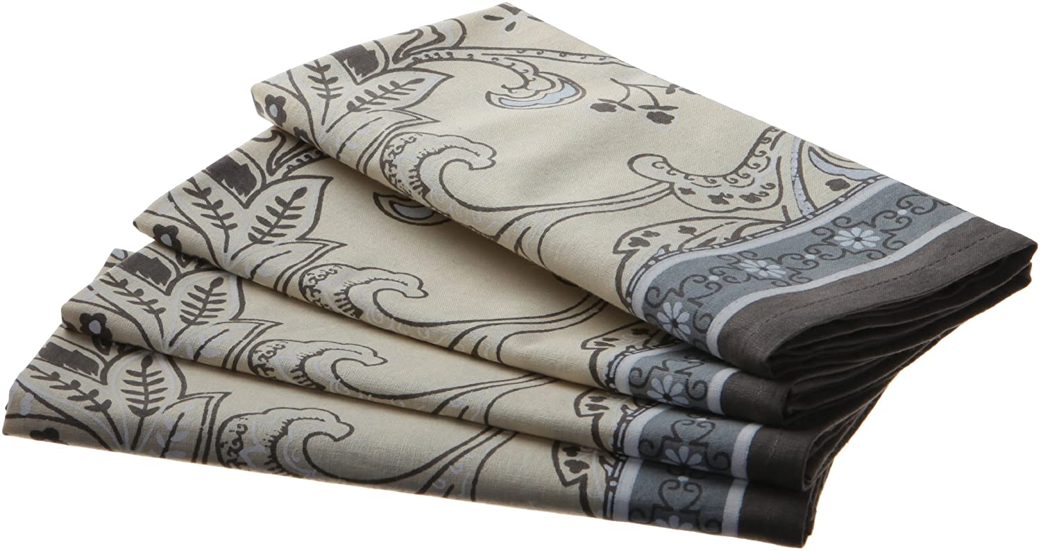 18-Inch by 18-Inch Mahogany Floral Print Napkin 100-Percent Cotton Set of 4 Light Taupe with Brown Border