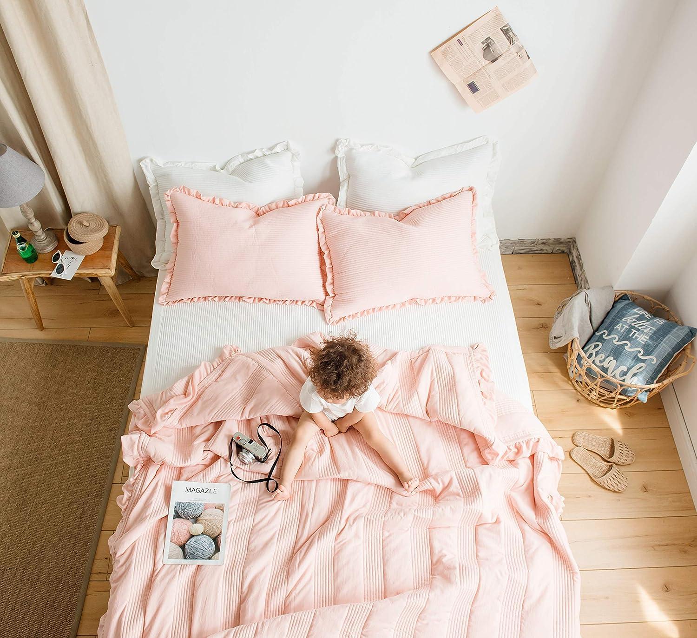 WINLIFE 3PCS Solid Seersucker Coverlets Bedding for Kids Soft Lightweight Thin Quilt Summer Comforter White Twin
