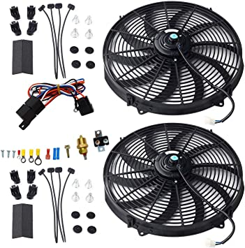 "2 X UNIVERSAL 9/"" PULL//PUSH 12-V ELECTRIC RADIATOR COOLING FAN+MOUNTING KIT BLACK"