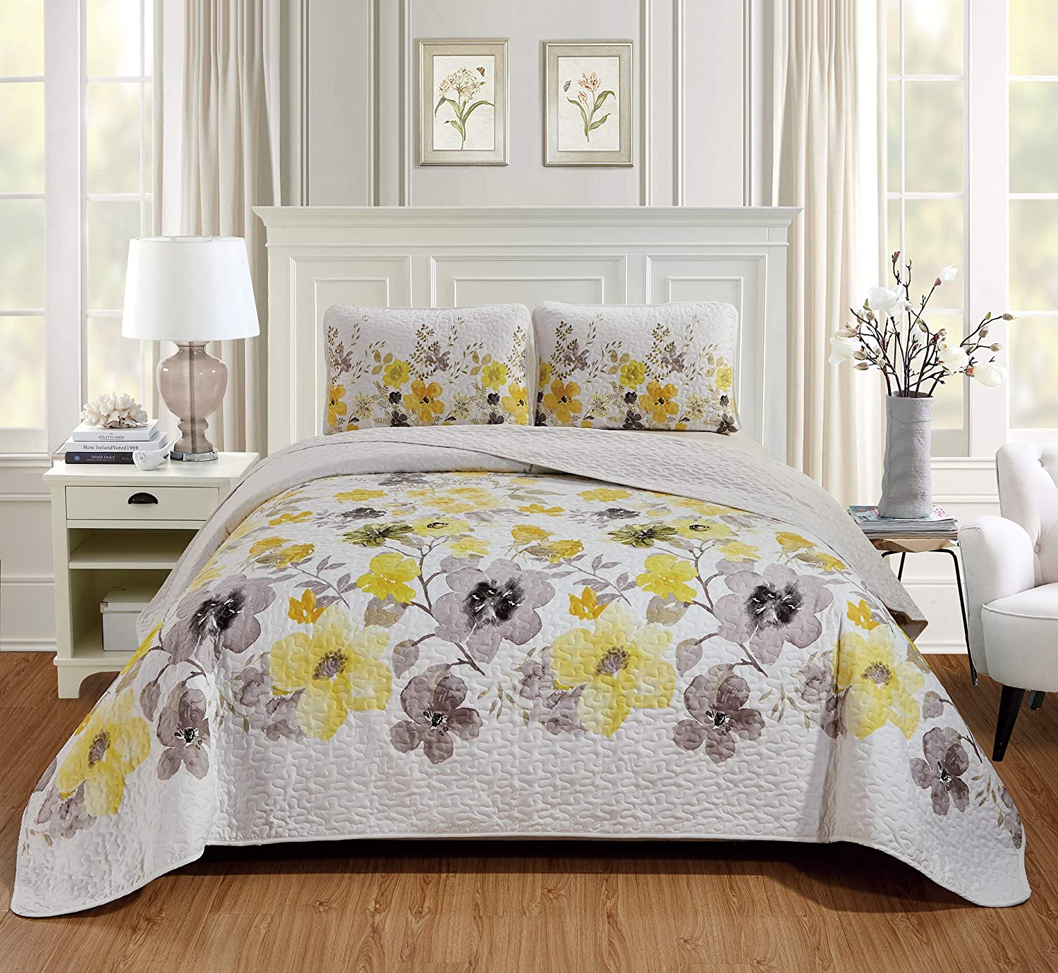 "Home Collection 3pc King/California King Bedspread Floral Yellow and Brown Flowers Print Over Size 118""X95"" New"