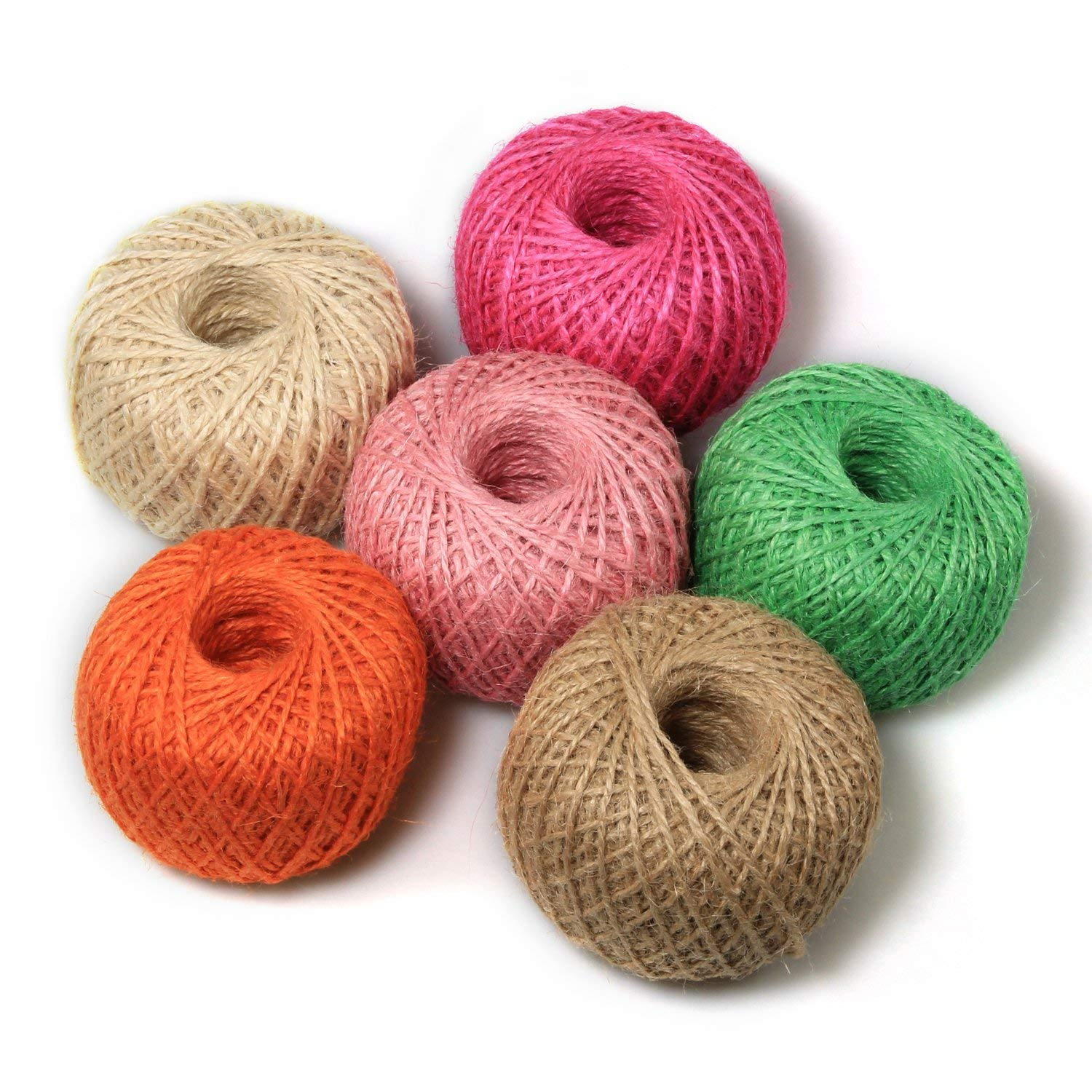 Digiroot Natural Jute Twine Perfect for Gift Packaging, Gardening Applications, Arts and Crafts Project and Home Decorations - Pack of 6 , 328ft/roll (Beige,Hot Pink,Light Pink,Green,Orange,Brown) by Digiroot