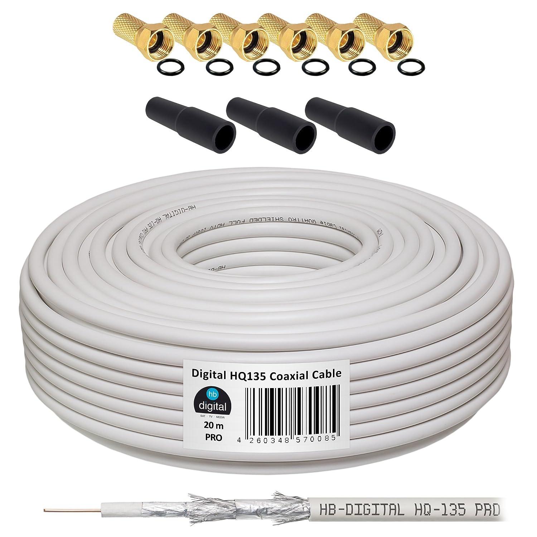 HB-DIGITAL Cable Coaxial de HB Digital Set SAT de cable con conectores F dorados y protección Boquillas, cable coaxial para recepción por satélite, ...
