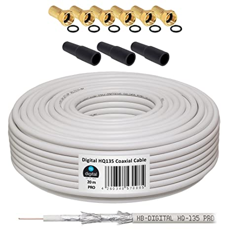 HB-DIGITAL Cable Coaxial de HB Digital Set SAT de cable con conectores F dorados y ...