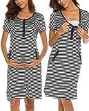 Ekouaer Women's Short Sleeve Delivery/Maternity/Nursing Nightgown Pregnancy Gown Striped Night Sleep Dress