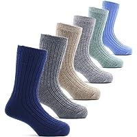 Boys Wool Socks Kids Winter Warm Crew Seamless Socks 6 Pack