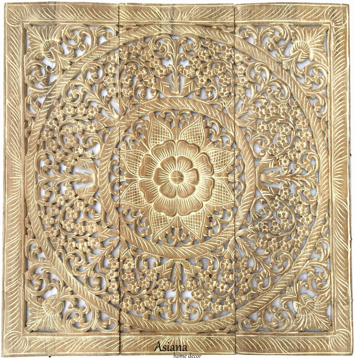 Amazon.com: Large Tropical Wood Carved Wall Panels. Floral Wood Wall ...