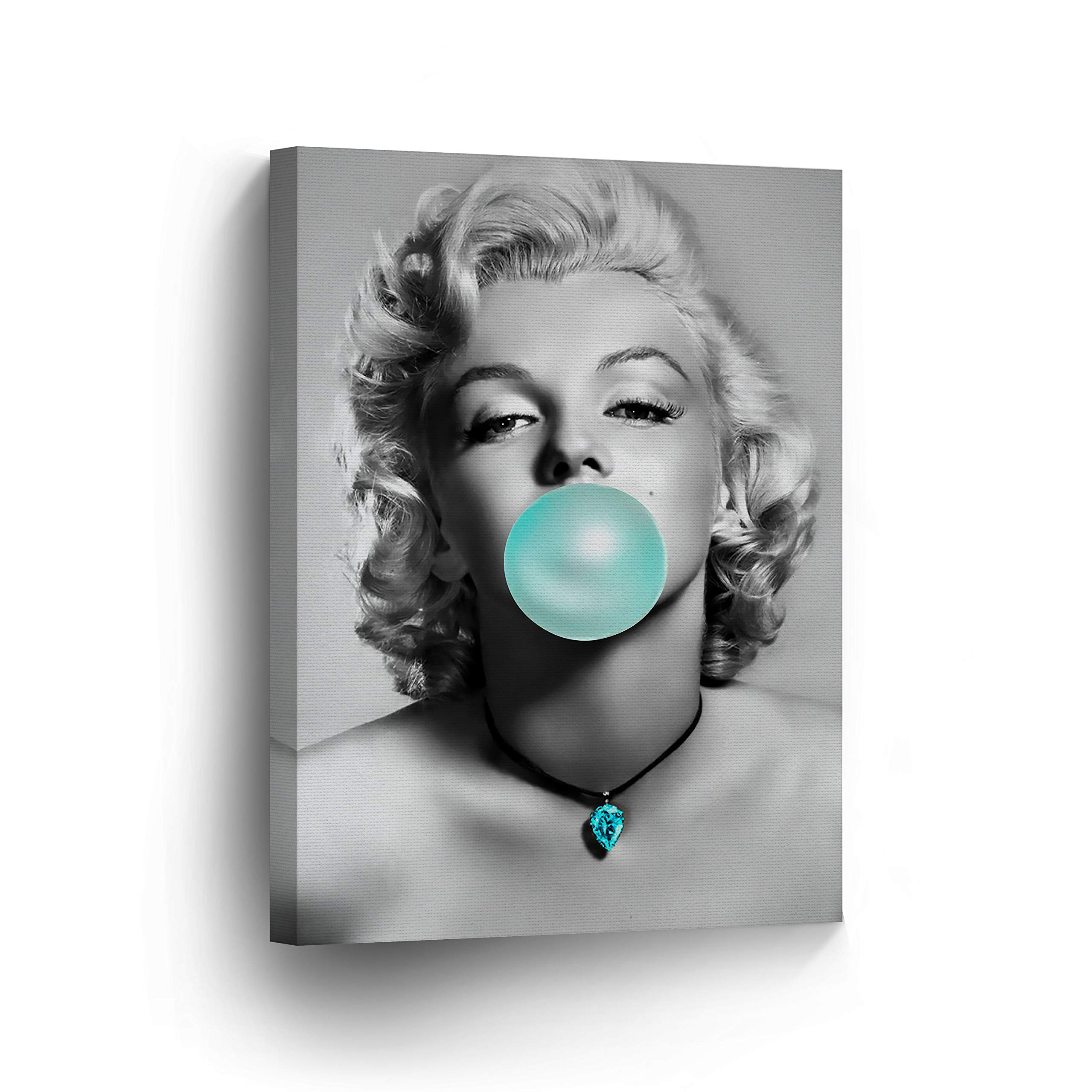 Marilyn Monroe Bubble Gum Chewing Gum Black and White Canvas