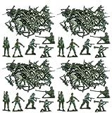 MEGA WERT 100 x Traditionell Grün Armee Men Schlacht Force Spielzeug Plastik Soldaten Klassisch Kinder Spielzeug Krieg Spiele