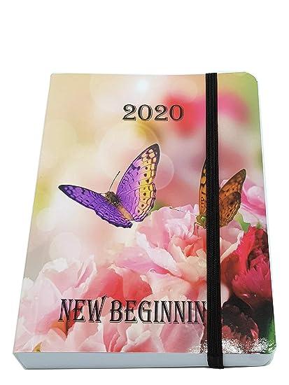 Agenda de 2020, tamaño A6, página completa, con tapa satinada y brillo solar, color Carnations