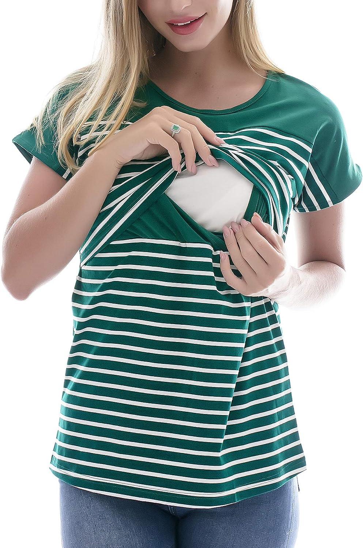 Smallshow Donna Infermieristica Top Maniche Corte a Righe Lift-up Breastfeeding Camicie