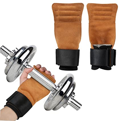 AOGETYO Tiradores de levantamiento de pesas de cuero para gimnasio y entrenamiento con correas y reposamuñecas