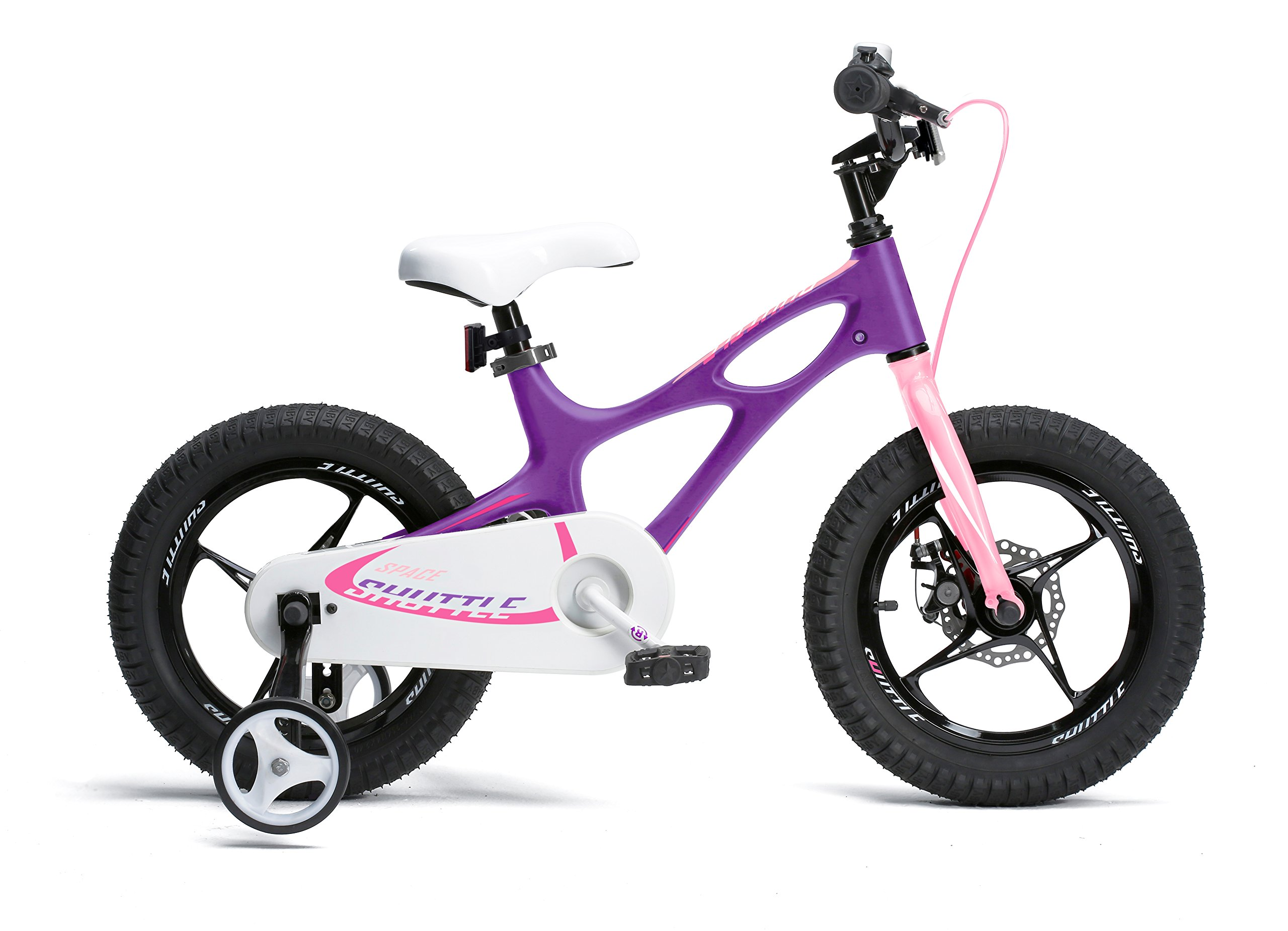 Royalbaby Space Shuttle Lightweight Magnesium Kid's Bike with Disc Brakes for Boys and Girls, 14 inch with Training Wheels, Lilac