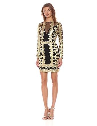 20f91763 Nicole Miller Women's Crown Emb/mesh Illusion Dress, Black/Gold (BGO ...