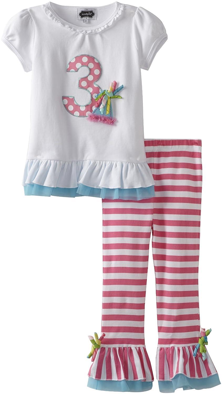 85e97ba674 Amazon.com: Mud Pie Toddler Girls' Birthday 2 Piece Set, Three, 3T: Pants  Clothing Sets: Clothing
