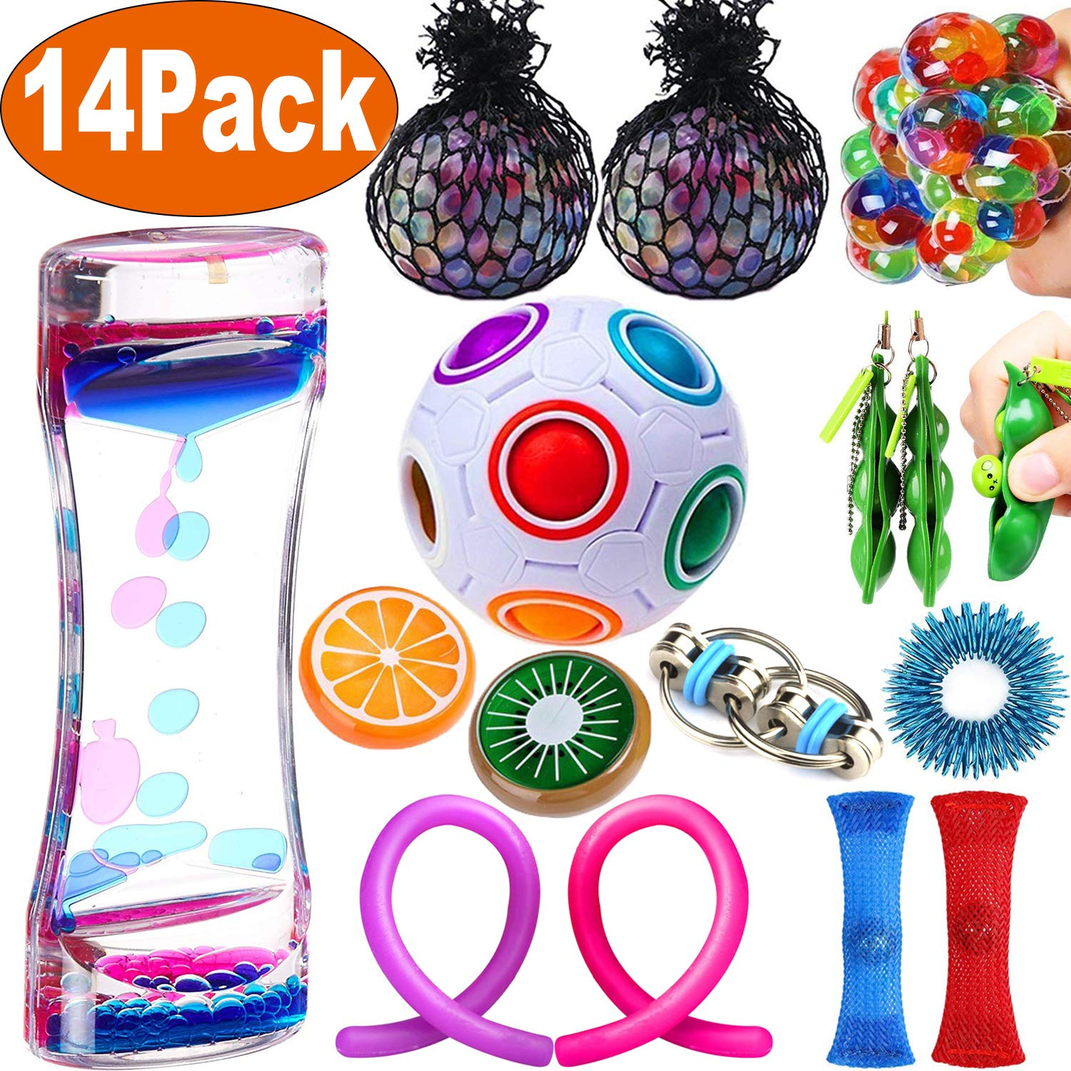 14 Pack Sensory Fidget Toys Bundle Liquid Motion Timer Bubbler Stretchy String Mesh Squeeze Balls Magic Cube Fruit Slime Stress Relieve Toys Halloween Party Favors for Kids Adult Autistic ADHD Anxiety MAXSASI