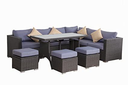 Amazon Com Broyerk 10 Pcs Blue Grey Outdoor Rattan Furniture Set