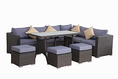 Amazing BroyerK 10 Pcs Blue Grey Outdoor Rattan Furniture Set Patio Garden