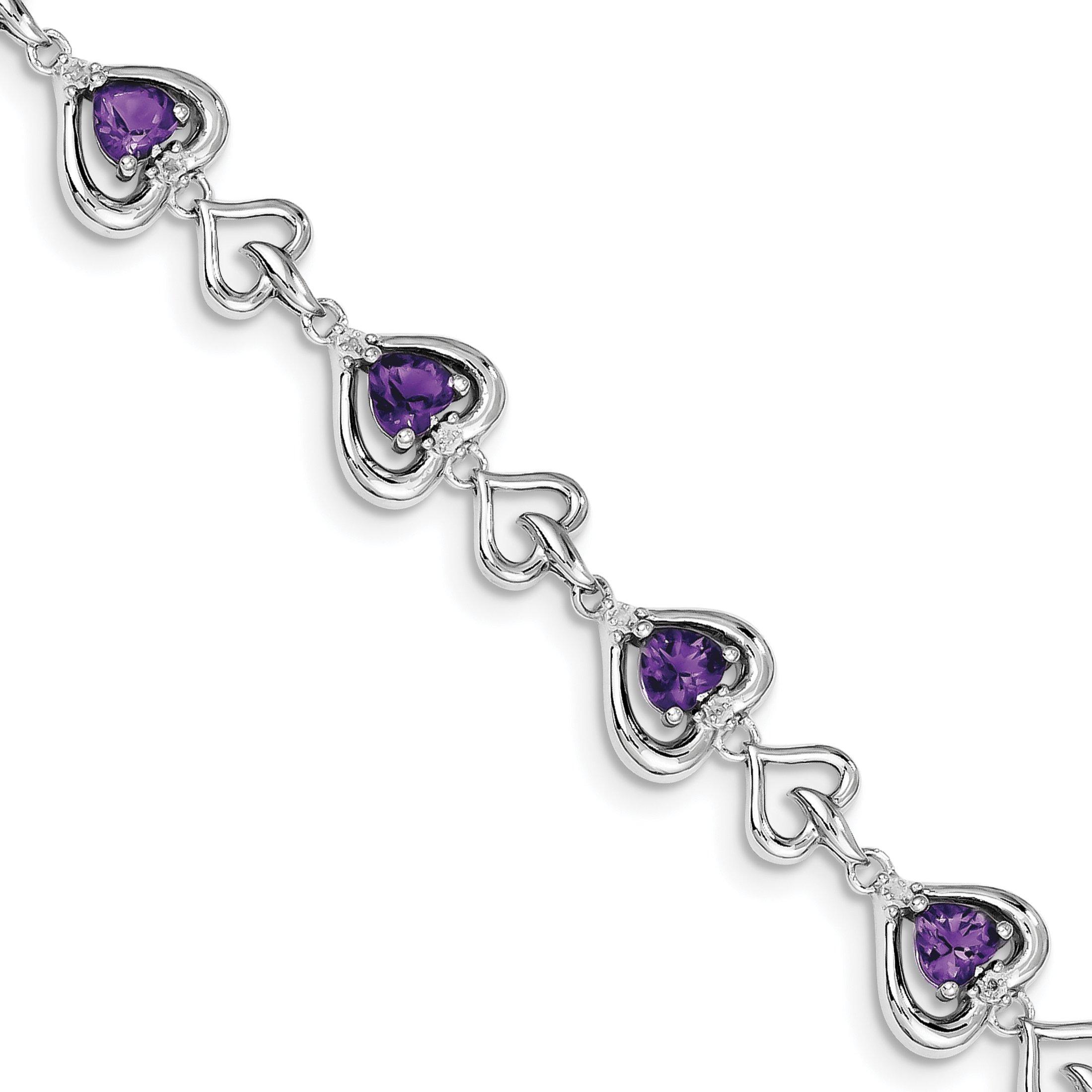 ICE CARATS 925 Sterling Silver Diamond Heart Link Purple Amethyst Bracelet 7 Inch /love Gemstone Fine Jewelry Gift Set For Women Heart