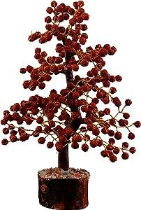 YATHABI Rudraksha Handmde Gems Tree Aura Ckeansing Chakra Balancing Energy Generator Prosparity for Home Decor Prayer Beads Money Bonsai Feng Shui Good Luck Wealth Gift Golden Wire Size 10-12 Inch