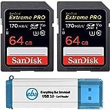 SanDisk 64GB SDXC SD Extreme Pro Memory Card (Two Pack) Bundle works with Nikon D3500, D7500, D5600 Digital DSLR Camera…