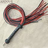 Ardour Crafts FL-045A Genuine Real Leather Flogger Red & Black Thick Leather 24 Tails Are 24'' Long