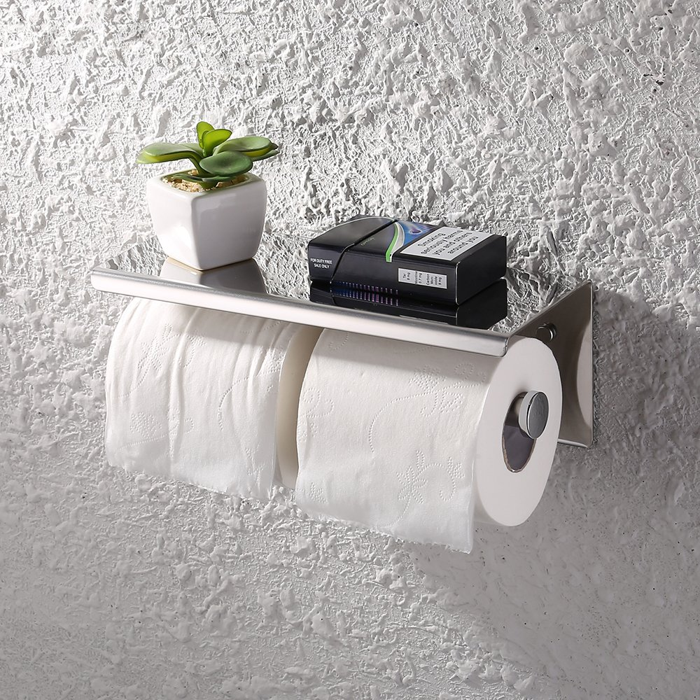 Kes Dual Toilet Paper Holder RUSTPROOF Stainless Steel Bathroom Double Tissue Paper Towel Roll Holder Hanger Wall Mount Polished Finish, BPH201S2