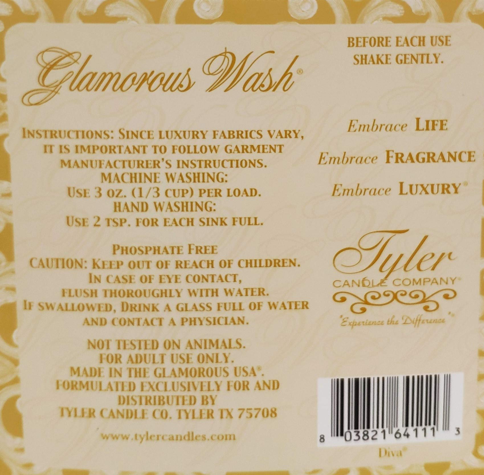 Tyler Candle Glamorous Wash Half Gallon (64 OZ) Laundry Detergent/Bonus Glamorous Sachet Single Pouch and Autoglam (Diva)