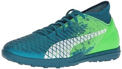 83463f82c PUMA Men's Future 18.4 TT Soccer Shoe, deep Lagoon White-Green Gecko, 7.5