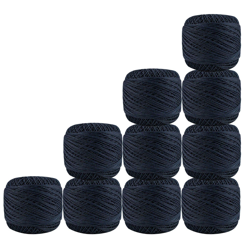 Bunch of 10 Pcs Dark Grey Cotton Crochet Thread Cross Stitch Knitting Doilies Skeins Lacey Craft