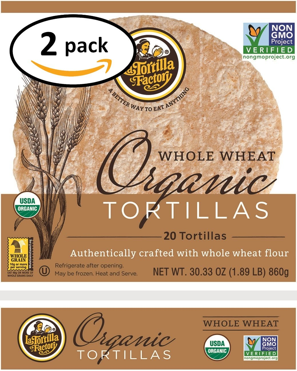 Organic Whole Wheat Tortillas 2-Pack (40 Tortillas)