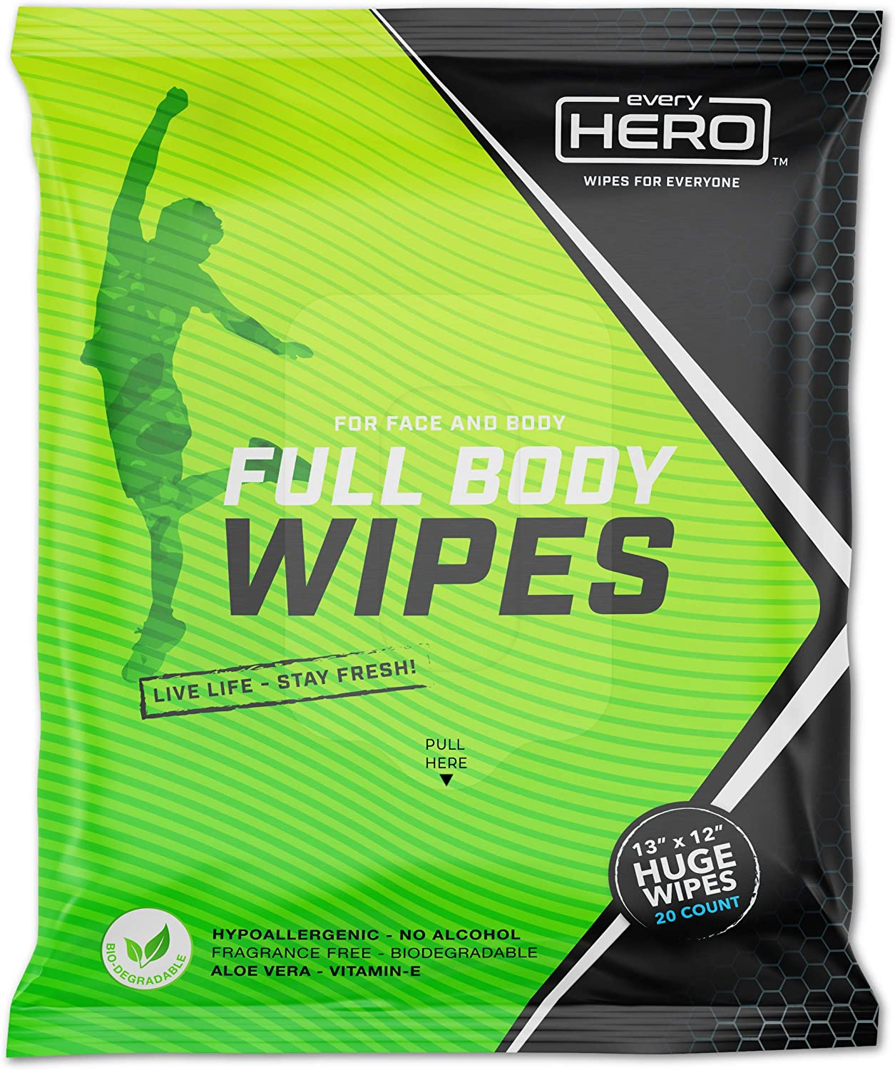 everyHERO Body Wipes 20 Count - No Shower Wipes for Adults - Extra Large for Post Workout, Camping, Travel - Unscented - Biodegradable - All Natural: Health & Personal Care