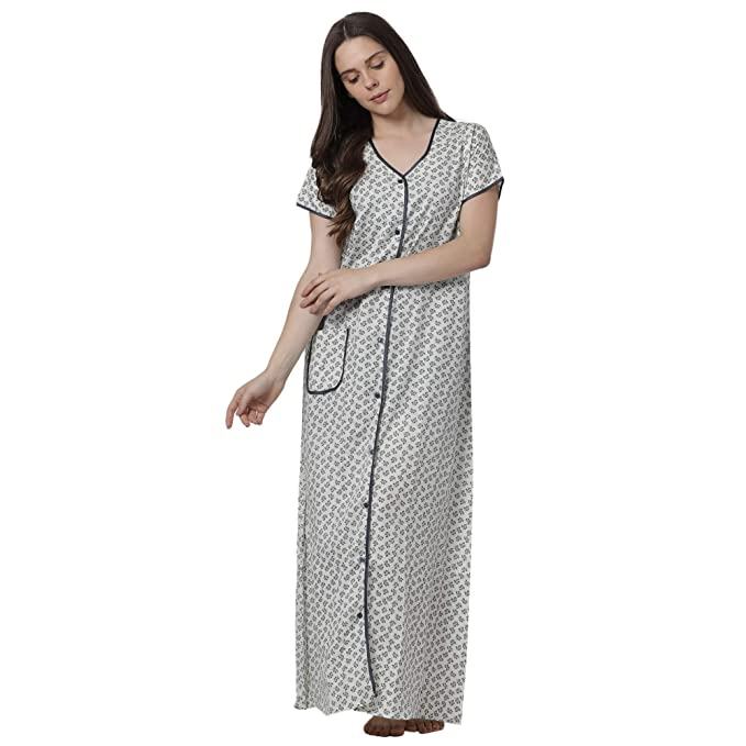 ee72f3c0047 Goldstroms Minelli Women s Cotton Fabric Front Button Open Night Gown  Green  Amazon.in  Clothing   Accessories