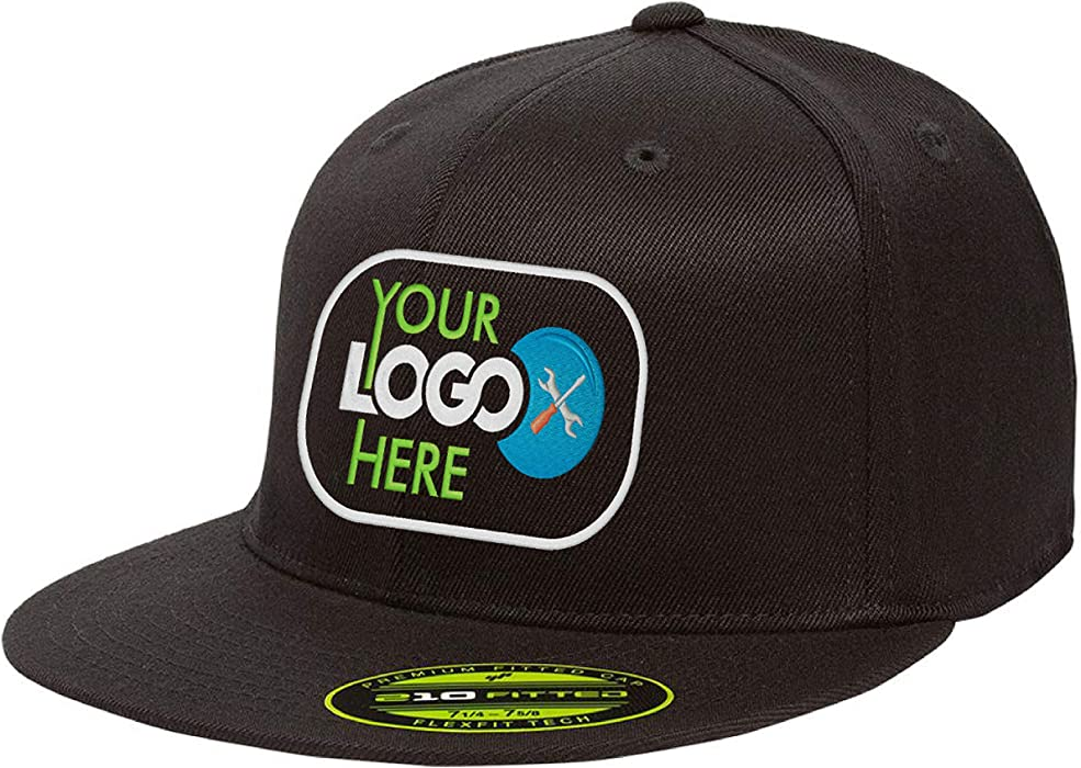 7ce97334dc2ec Personalized Flexfit 210 Cap. Custom Logo Hat. Embroidered. Fitted Flat Bill