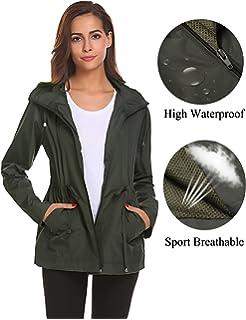 3123cffb89b0a Romanstii Rain Jacket Women Waterproof Hood Lightweight Raincoat Outdoor  Windbreaker