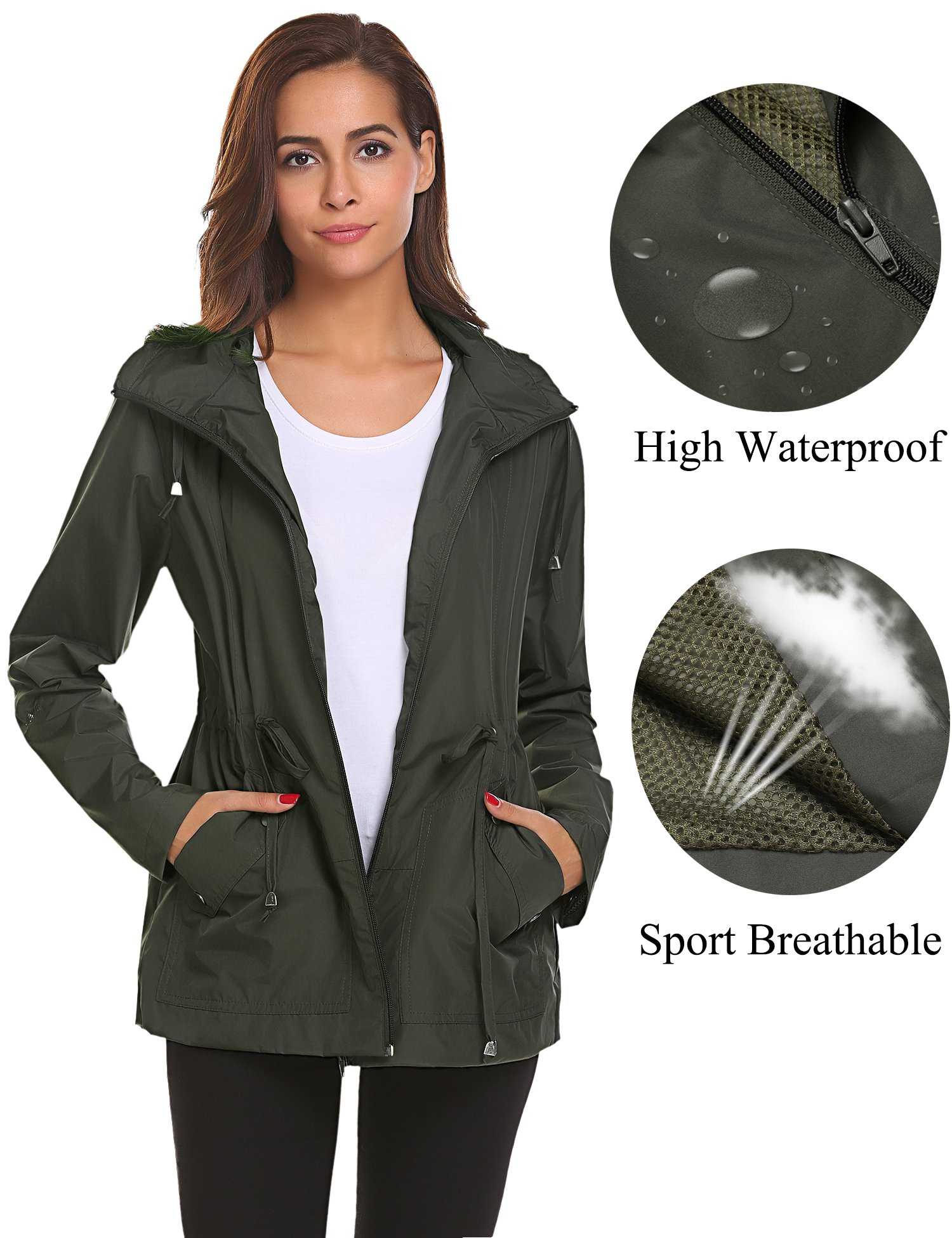 Romanstii Shell Jackets Women Waterproof,Sports Running Light Rain Coat Outdoor Breathable