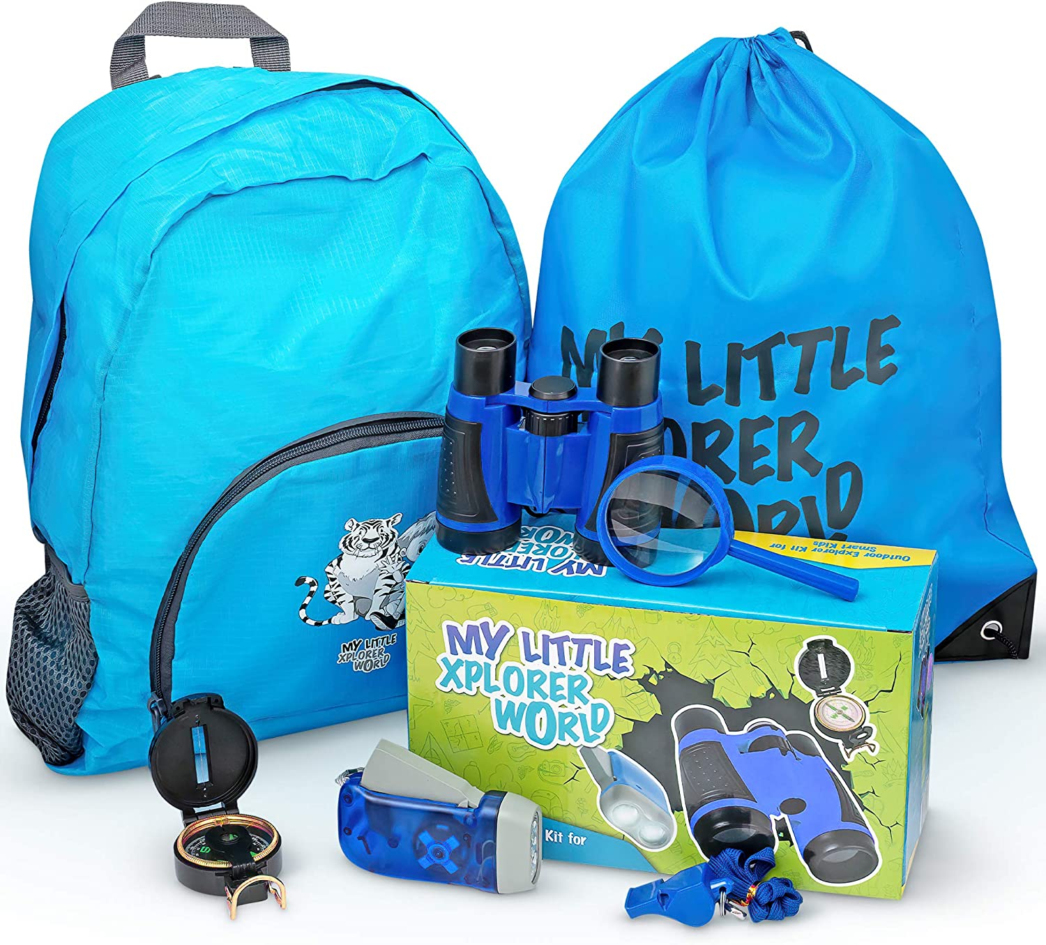 Upgraded Outdoor Exploration Kit with Toy Binoculars for Kids, Outdoor Toys include Magnifying Glass, Flashlight, Compass, Whistle, Boys / Girls Hiking Backpack, Ages 2-10, Blue