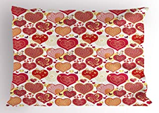 Valentines Pillow Sham, Ornate Hearts with Butterflies Abstract Love Theme with Wedding Inspirations, Decorative Standard Queen Size Printed Pillowcase, 30 X 20 inches, Multicolor