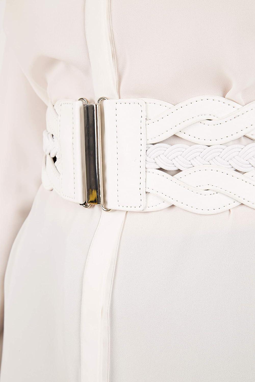 Brown, US 2-4 BlackButterfly 3 Inch Wide Waspie Elastic Vintage Braided Buckle Waist Belt