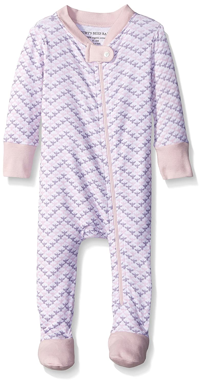 100/% Organic Cotton Zip Front Non-Slip Footed Sleeper PJs Baby Girls Sleeper Pajamas Burts Bees Baby