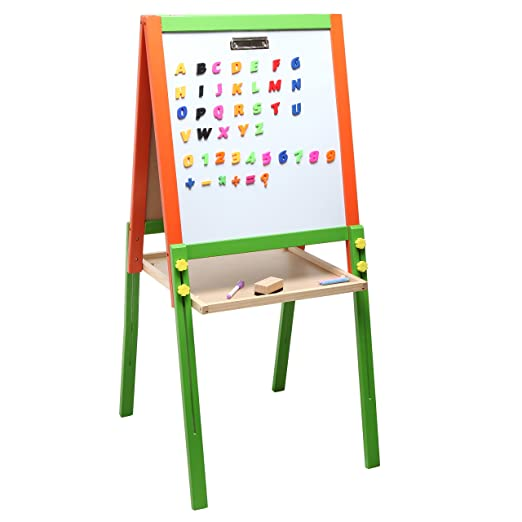 MyGift Childrens Wood Double-Sided Art /& Activity Easel with Chalkboard Dry Erase White Board /& Storage Shelf