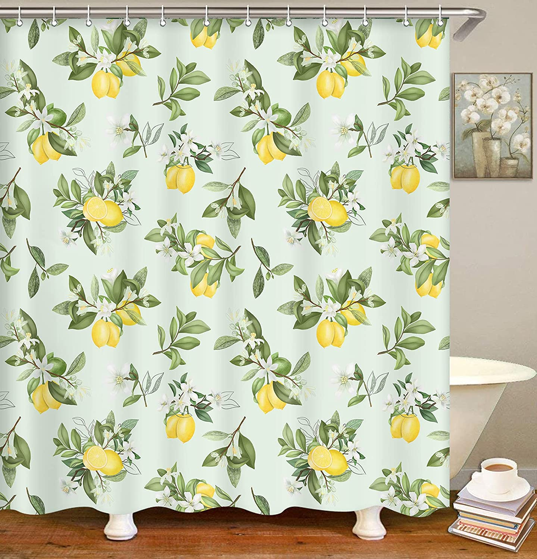 Emvency Green Plant Shower Curtains, Lemon Decor Shower Curtain Cute Lemon Summer Leaf Waterproof Shower Curtains for Bathroom with 12 Hooks 72