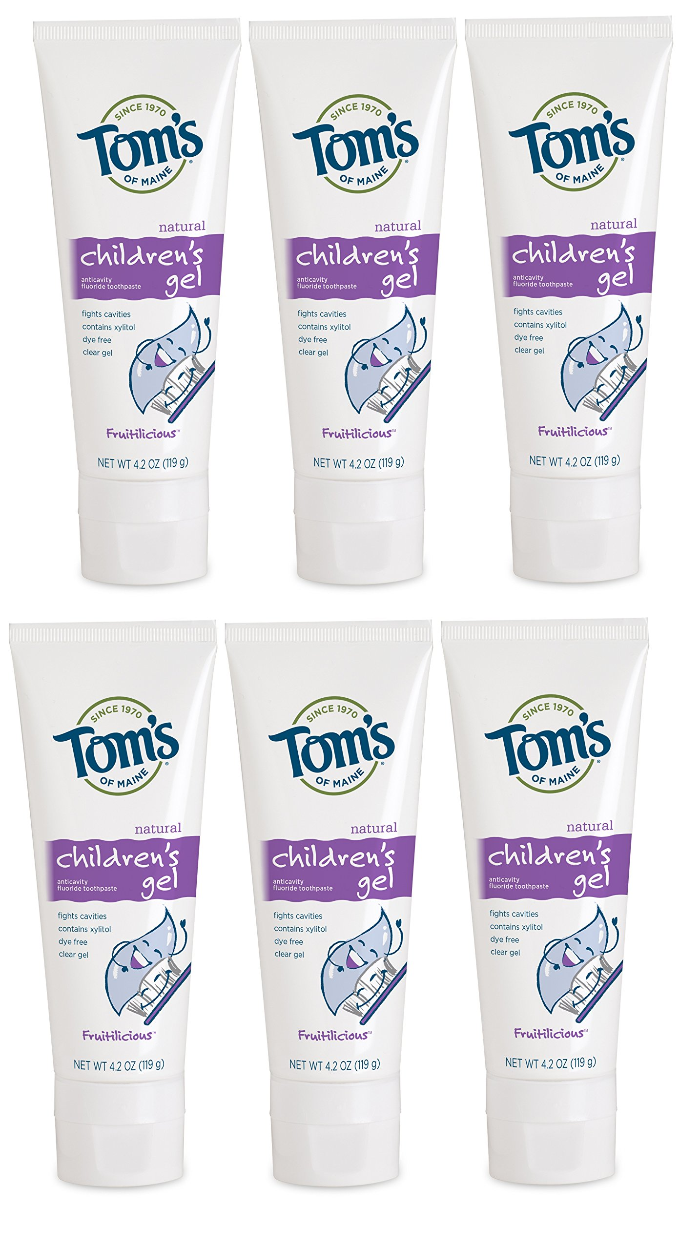 Tom's of Maine Natural Children's Fruitilicious Fluoride Anticavity Gel, 4.2 Ounce (6 count)