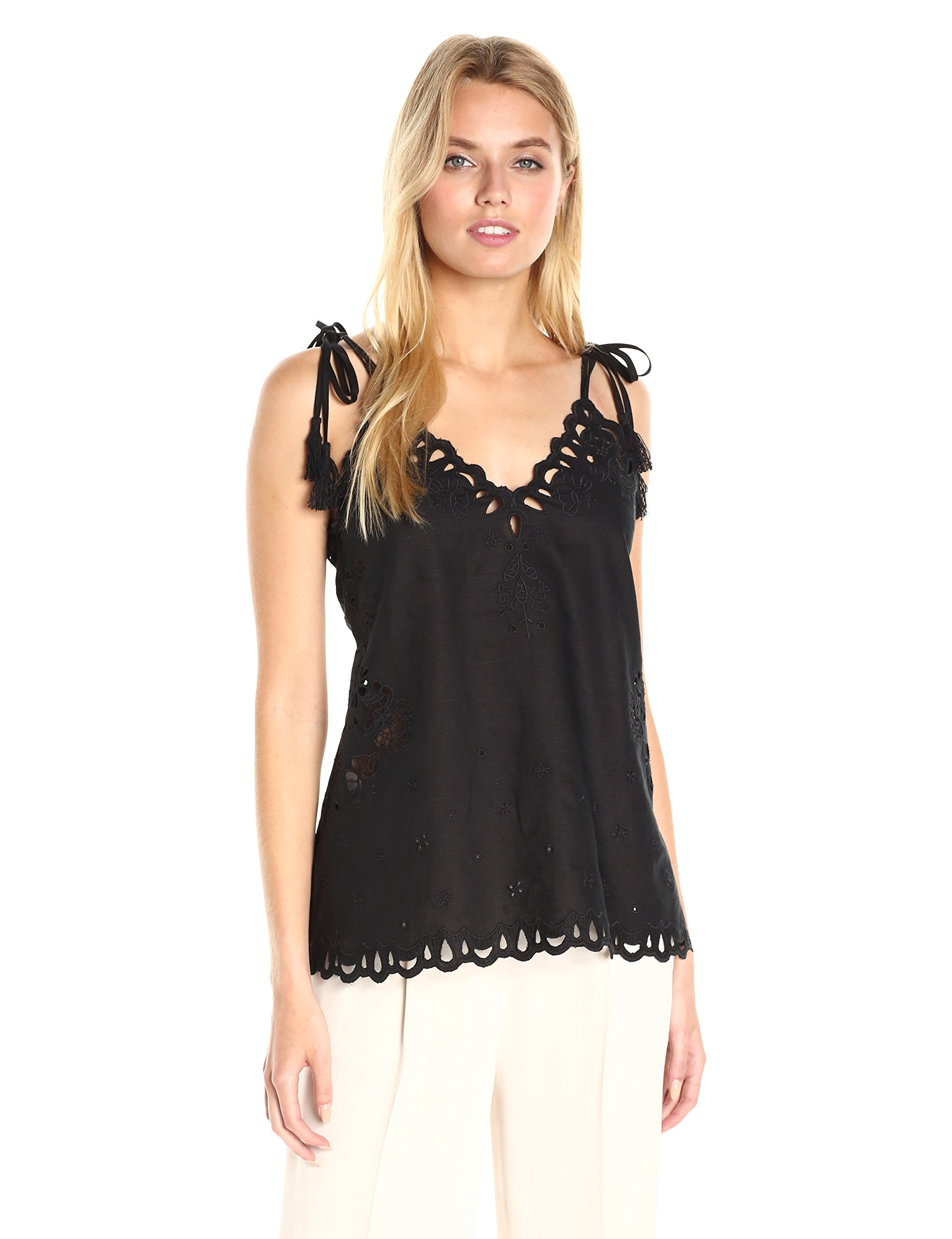 Theory Women's Wiola Light Linen Embroidered Top, Black, S