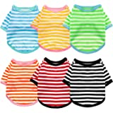 6 Pieces Dog Striped T-Shirt Cotton Dog Shirt Breathable Pet Apparel Colorful Puppy Sweatshirt Dog Clothes for Small to…
