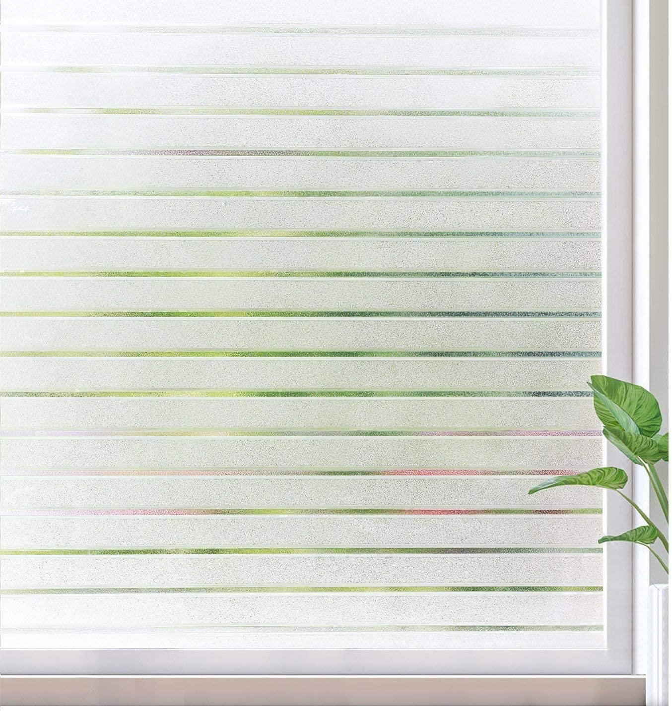 rabbitgoo Frosted Window Film Static Cling Decorative Glass Film UV Protection Window Privacy Film Non Adhesive Window Cling for Home Office Meeting Room, Frosted Stripe Patterns, 17.5 x 157 inches