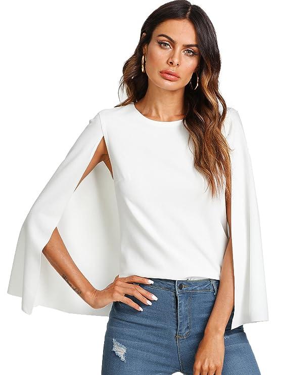 Amazon.com: Romwe - Blusa elegante de manga larga con cuello ...