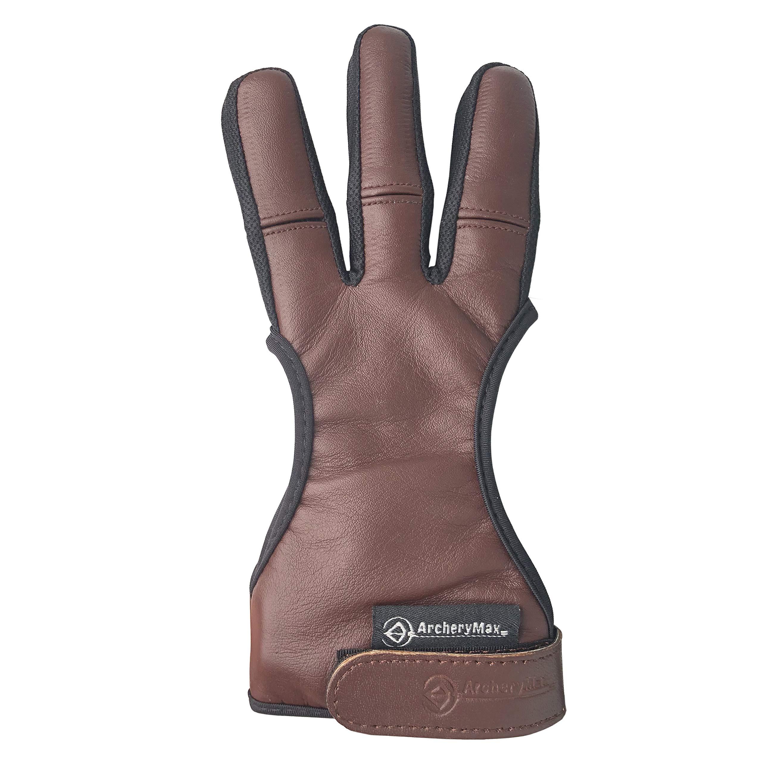 ArcheryMax Handmade Brown Leather Three Finger Archery Gloves (Dark Brown, Medium) by ArcheryMax