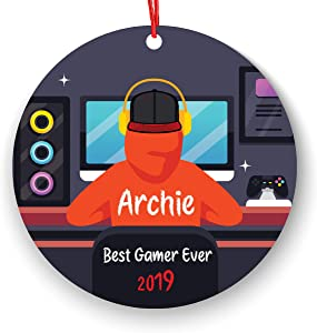 ACP Personalized Video Game Player Boy Playing Video Game Christmas Ornament Gamer
